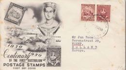 AUSTRALIEN 1950 - First Day Cover Mit Zusammendruck Von Albury > Weesp Holland - 1850-1906 New South Wales