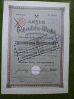 A2675) Aktie Hohenlohe-Werke Hohenlohehütte Oberschlesien 1000 Mk Von 1905 - Industrial