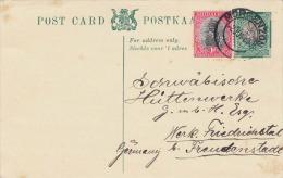 SÜDAFRIKA 1930 - 1/2d Ganzsache Mit 1d Zusatzfrankierung Auf Pk Von Morgenzon > Friedrichstal - Briefmarken