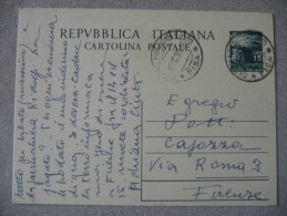 ITALIA CARTOLINA POSTALE 15 LIRE VIAGGIATA 1950 - 6. 1946-.. Repubblica