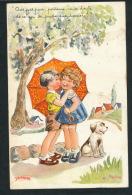 ENFANTS - Jolie Carte Fantaisie Enfants Sous Parapluie Avec Chien Signée JANSER - Janser