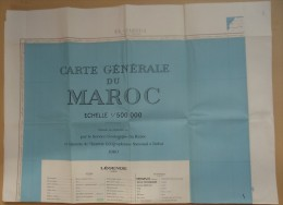 Carte Générale Du Maroc - Echelle 1/500 000 - 1960 - 5 Feuilles El-Jadida-Rabat-Oujda-Mar Rakech-Hamada Du Guir - Landkarten