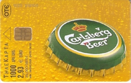 TARJETA DE GRECIA DE CERVEZA CARLSBERG DE TIRADA 35000 (BEER) (2 FOTOS) CHAPA - Publicidad