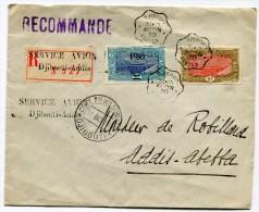 COTE FRANCAISE DES SOMALIS LETTRE RECOMMANDEE AVEC GRIFFE SERVICE AVION DJIBOUTI - ADDIS  DEPART DJIBOUTI 31 OCT 30 - Côte Française Des Somalis (1894-1967)