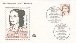 CLARA SCHUMANN, COMPOSER, COVER FDC, 1986, GERMANY - [7] Repubblica Federale
