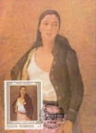 STEFAN LUCHIAN- SAFTA THE FLOWER LADY, PAINTING, CM, MAXICARD, CARTES MAXIMUM, 1991, ROMANIA - Art