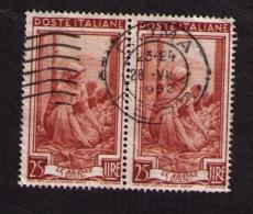Bande De 2 Timbres Oblitérés Italie, Série Travail, Le Arance (Sicile), Oranges, 25 Lire, 1950 - Agriculture
