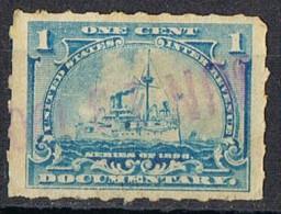 Sello Fiscal Estados Unidos 1898, 1 Ctvo. DOCUMENTARY, Barco, Ship º - Errors, Freaks & Oddities (EFOs)