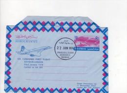 Bahrain-London , Aerogramme Via Concorde First Flight   22 . 1.  1976 ( Joint  Papier Dans L´enveloppe ) - Bahreïn (1965-...)