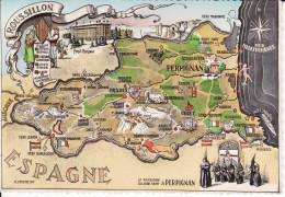 CPSM DEPARTEMENT CONTOUR GEOGRAPHIQUE PYRENEES ORIENTALES 66 ROUSSILLON  ED PAGES - Maps