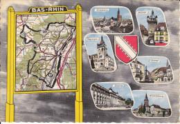 CPSM DEPARTEMENT CONTOUR GEOGRAPHIQUE BAS RHIN 67 LA CIGOGNE CARTE MICHELIN N° 989 BLASON - Maps