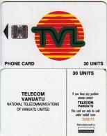 VANUATU - TVL Logo 30 Units, CN : 7 Digits, Used - Vanuatu