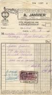Facture De La Manufacture Française D'Enseignes A. JANVIER De Paris Et De 1936 Avec Timbre Fiscal - 1/2 A4 - 1900 – 1949