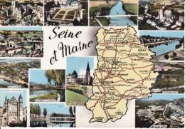 CPSM DEPARTEMENT CONTOUR GEOGRAPHIQUE SEINE ET MARNE 77 CIM FOND JAUNE - Maps