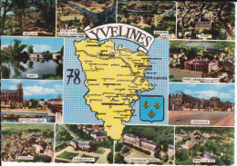 CPSM DEPARTEMENT CONTOUR GEOGRAPHIQUE YVELINES 78  BLASON FOND JAUNE  ARTAUD 1967 - Maps