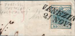 REGNO LOMBARDO VENETO - FRANCOBOLLO 45 CENT. CARTA COSTOLATA (17) USATO - PERFETTO - Lombardo-Veneto
