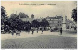 71-Chalon-sur-Saone- Place  De L´Obélisque- Animée- - Chalon Sur Saone