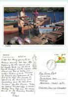 Fisherman, Playa La Boca, Trinidad, Cuba Postcard Posted 2003 Stamp - Cuba