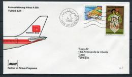 1982 Tunisia Tunis Air MBB Airbus A300 Flight Cover - Tunisia
