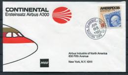 1986 USA Houston Texas Continental MBB Airbus A300 First Flight Cover - Air Mail