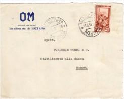 SUZZARA 1953 -  ITALIA AL LAVORO 25 £. ISOLATO  PER MODENA  - BUSTA PUBBLICITARIA  OM  S.p.A. - 6. 1946-.. Repubblica