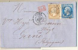 _4cp-681 N 21+22+ PD-stempel + TOURS  > Gand Belgique+diverse Stempels... - 1862 Napoléon III
