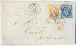 _4cp-680:  N 21+22+ PD-stempel + TOURS  > Gand Belgique+diverse Stempels... - 1862 Napoléon III