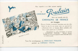 Buvard  Alimentaire, Chocolat  POULAIN  Avec  Chansons  De  France, MEUNIER  TU  DORS - Buvards, Protège-cahiers Illustrés