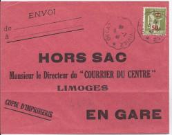 FRANCE - ENVELOPPE HORS SAC JOURNAL COURRIER DU CENTRE DECAZEVILLE LIMOGES EN GARE 1941 - Brieven En Documenten