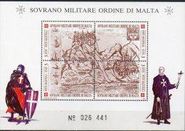 SMOM Festung I Im Mittelmeer 1990 Malteser Orden Block 29 ** 8€ Bf History M/s Painting Bloc Art Sheet Of Ordre De Malte - Militaria