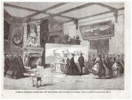 GRAVURE D Epoque   1864   THOMERY  77810  Imperatrice   Visite Mme   Rosa Bonheur   Dans Son Atelier De THOMERY - Old Paper