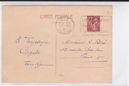 1941 - CARTE ENTIER TYPE IRIS De TOULOUSE Avec MECA PORT PAYE PP - 1921-1960: Periodo Moderno