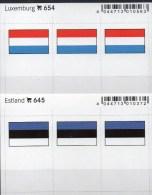 In Farbe 2x3 Flaggen-Sticker Luxemburg+Estland 4€ Kennzeichnung Alben Karten Sammlungen LINDNER 654+645 Eesti Luxembourg - Matériel