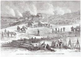 "GRAVURE D Epoque   1864  "" AMERICAN CIVIL WAR    BATAILLE  DE SPOTTSYLVANIA   WILDERNESS VIRGINIE - Documentos Antiguos"