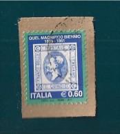 ITALIA REPUBBLICA QUEL MAGNIFICO BIENNIO 0,60 2011 USATO SU FRAMMENTO - 6. 1946-.. Repubblica