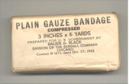 Paquet De Gaze Pour Bandage - Armée Américaine - Infirmier - US 1942 - Guerre 40/45 - Equipement