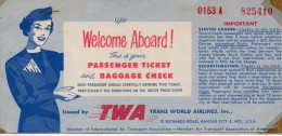 Billet Avion TWA  - New York - Los Angeles - 1956 - Mondo