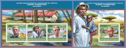 gu13601ab Guinea 2013 Albert Schweitzer Nobel Peace Prize Red cross 2 s/s