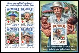m13503ab Mozambique 2013 Albert Schweitzer Red Cross Nobel Prize 2 s/s