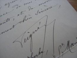 General PAUL PEIGNE - (1841-1919) - Inventeur BOUSSOLE Portative - AUTOGRAPHE. - Autografi