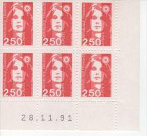 Bloc De 6 Timbres Liberté N° 2715 Avec Coin Daté 28-11-91 - 1990-1999