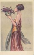 $3- 3026- Cartolina Illustratore Bompard - Donna Con Vaso Di Fiori - F.p. Viaggiata - Bompard, S.
