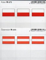 In Farbe 2x3 Flaggen-Sticker Polen+Österreich 4€ Kennzeichnung Alben Karte Sammlung LINDNER 644+673 Flags Polska Austria - Zubehör