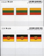 In Farbe 2x3 Flaggen-Sticker DDR+Litauen 4€ Kennzeichnung Alben Karten Sammlungen LINDNER 634+659 Flag Lithuiana Germany - Zubehör