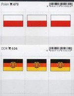 In Farbe 2x3 Flaggen-Sticker POLEN+DDR 4€ Kennzeichnung Alben Karten Sammlungen LINDNER 634+673 Flag East Germany Polska - Zubehör