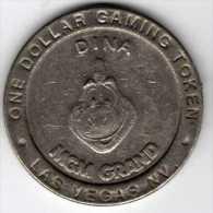 $1 Gaming Token : Jeton Casino Slot Machine : MGM Grand DINA : Las Vegas 1993 - Casino