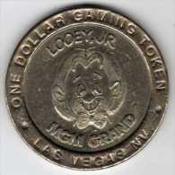 $1 Gaming Token : Jeton Casino Slot Machine : MGM Grand LOOEY, JR : Las Vegas 1993 - Casino