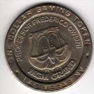 $1 Gaming Token : Jeton Casino Slot Machine : MGM Grand PROF F. OWLINI : Las Vegas 1993 - Casino