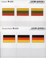 In Farbe 2x3 Flaggen-Sticker Litauen+Deutschland 4€ Kennzeichnung Alben Karte Sammlung LINDNER 630+659 Lithuiana Germany - Zubehör