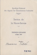 Menu 1947  Thonon Les Bains - Menükarten
